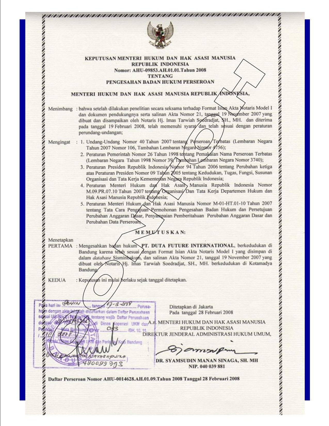 Pembuatan Akta Pendirian Pt Dalam Bahasa Inggris Santo 2006